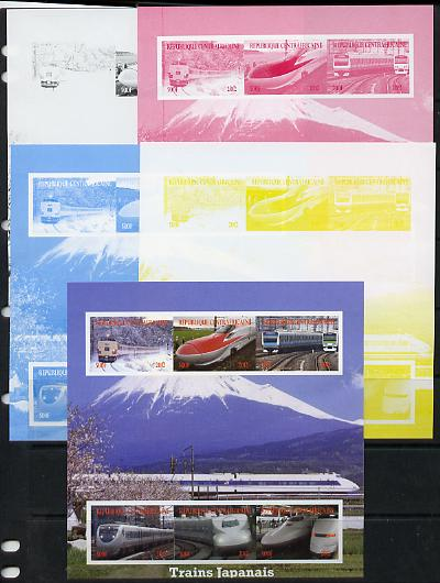 Central African Republic 2012 Japanese Trains sheetlet containing 6 values - the set of 5 imperf progressive proofs comprising the 4 individual colours plus all 4-colour composite, unmounted mint