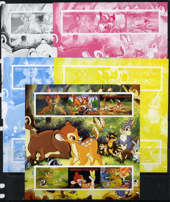 Central African Republic 2012 Bambi & Butterflies sheetlet containing 6 values - the set of 5 imperf progressive proofs comprising the 4 individual colours plus all 4-colour composite, unmounted mint