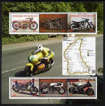 Central African Republic 2012 Motorbikes perf sheetlet containing 6 values unmounted mint. Note this item is privately produced and is offered purely on its thematic appeal, stamps on motorbikes, stamps on transport, stamps on maps