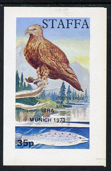 Staffa 1972 Pictorial imperf souvenir sheet (35p value) Golden Eagle & Salmon (opt'd IBRA Munich 1973) unmounted mint