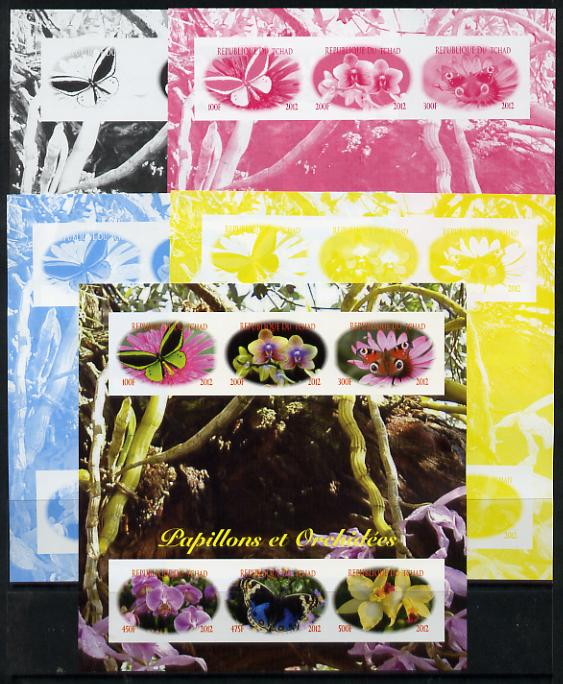 Chad 2012 Orchids & Butterflies sheetlet containing 6 values - the set of 5 imperf progressive proofs comprising the 4 individual colours plus all 4-colour composite, unmounted mint