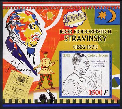 Ivory Coast 2012 Igor Stravinsky large perf s/sheet unmounted mint
