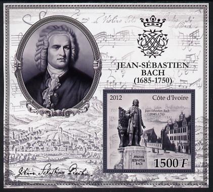 Ivory Coast 2012 Johann Sebastian Bach large perf s/sheet unmounted mint
