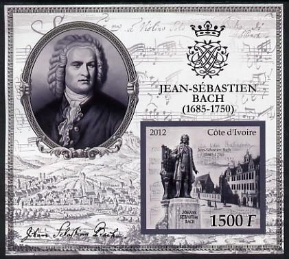 Ivory Coast 2012 Johann Sebastian Bach large imperf s/sheet unmounted mint