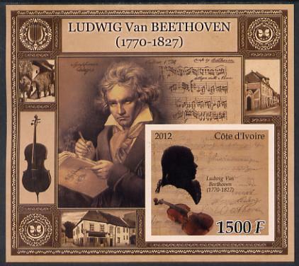 Ivory Coast 2012 Ludwig Van Beethoven large perf s/sheet unmounted mint