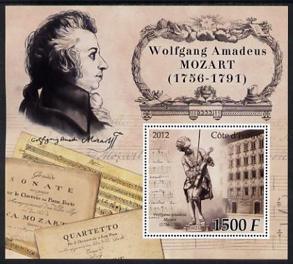 Ivory Coast 2012 Wolfgang Amadeus Mozart large perf s/sheet unmounted mint