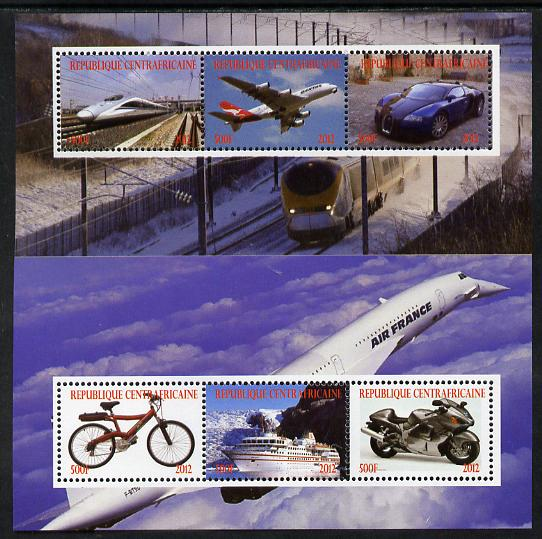 Central African Republic 2012 Transportation perf sheetlet containing 6 values unmounted mint. Note this item is privately produced and is offered purely on its thematic ...