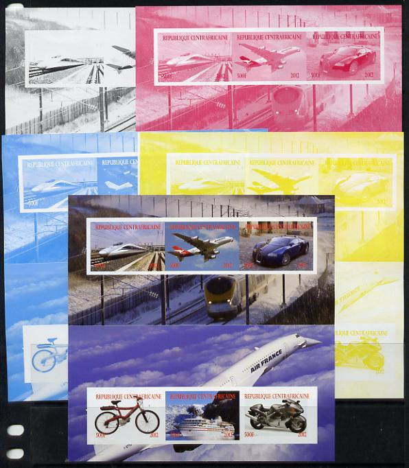 Central African Republic 2012 Transportation sheetlet containing 6 values - the set of 5 imperf progressive proofs comprising the 4 individual colours plus all 4-colour composite, unmounted mint