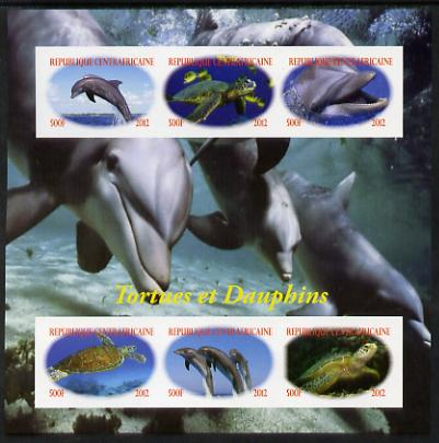 Central African Republic 2012 Turtles & Dolphins imperf sheetlet containing 6 values unmounted mint. Note this item is privately produced and is offered purely on its thematic appeal, it has no postal validity