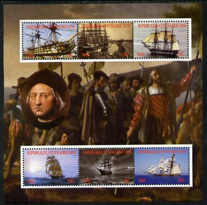 Central African Republic 2012 Christopher Columbus perf sheetlet containing 6 values unmounted mint. Note this item is privately produced and is offered purely on its the...