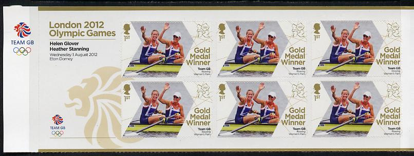 Great Britain 2012 London Olympic Games Team Great Britain Gold Medal Winner #01 - Helen Glover & Heather Stanning (Rowing Women's Pairs) self adhesive sheetlet containing 6 x first class values unmounted mint
