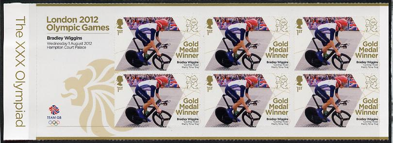Great Britain 2012 London Olympic Games Team Great Britain Gold Medal Winner #02 - Bradley Wiggins (Road Cycling) self adhesive sheetlet containing 6 x first class values unmounted mint