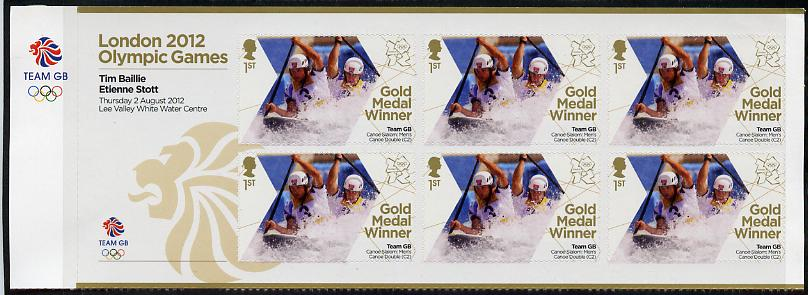 Great Britain 2012 London Olympic Games Team Great Britain Gold Medal Winner #03 - Tim Baillie & Etienne Stott (Men's Canoe Slalom) self adhesive sheetlet containing 6 x first class values unmounted mint
