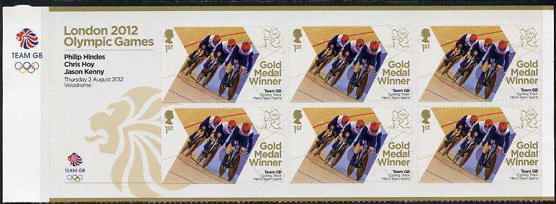 Great Britain 2012 London Olympic Games Team Great Britain Gold Medal Winner #05 - Philip Hindes, Chris Hoy & Jason Kenny (Track Cycling) self adhesive sheetlet containing 6 x first class values unmounted mint