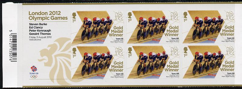 Great Britain 2012 London Olympic Games Team Great Britain Gold Medal Winner #07 - Steven Burke, Ed Clancy, Peter Kennaugh & Geraint Thomas (Track Cycling) self adhesive sheetlet containing 6 x first class values unmounted mint