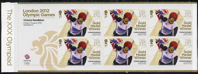 Great Britain 2012 London Olympic Games Team Great Britain Gold Medal Winner #08 - Victoria Pendleton (Track Cycling) self adhesive sheetlet containing 6 x first class values unmounted mint