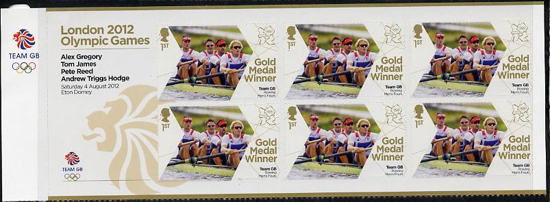 Great Britain 2012 London Olympic Games Team Great Britain Gold Medal Winner #09 - Alex Gregory, Tom James, Pete Reed & Andrew Triggs Hodge (Rowing Men's Fours) self adhesive sheetlet containing 6 x first class values unmounted mint