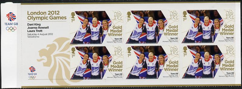 Great Britain 2012 London Olympic Games Team Great Britain Gold Medal Winner #11 - Dani King, Joanna Rowsell & Laura Trott (Track Cycling) self adhesive sheetlet containing 6 x first class values unmounted mint