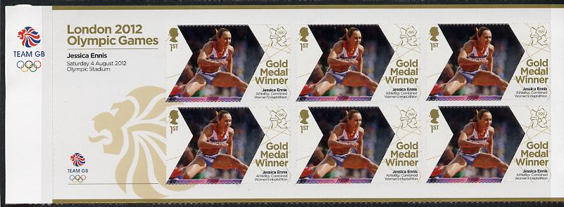Great Britain 2012 London Olympic Games Team Great Britain Gold Medal Winner #12 - Jessica Ennis (Heptathlon) self adhesive sheetlet containing 6 x first class values unmounted mint