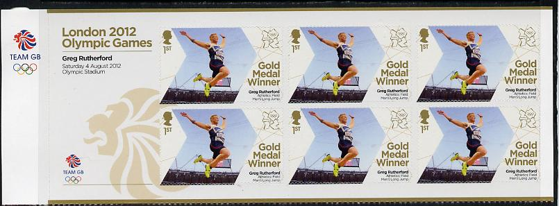 Great Britain 2012 London Olympic Games Team Great Britain Gold Medal Winner #13 - Greg Rutherford (Long Jump) self adhesive sheetlet containing 6 x first class values unmounted mint