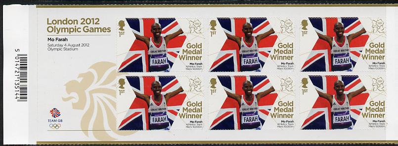 Great Britain 2012 London Olympic Games Team Great Britain Gold Medal Winner #14 - Mo Farah (10,000m) self adhesive sheetlet containing 6 x first class values unmounted mint