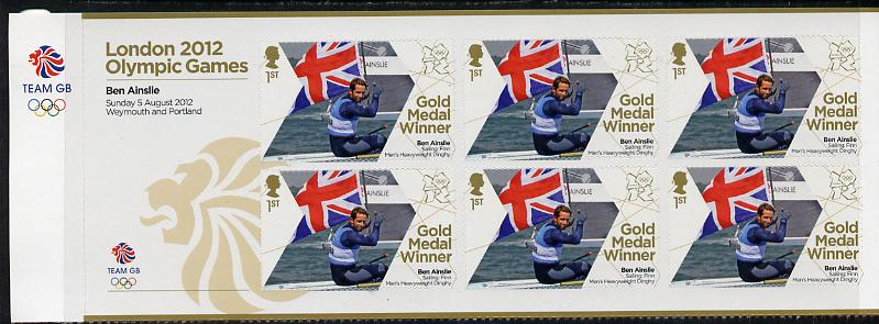 Great Britain 2012 London Olympic Games Team Great Britain Gold Medal Winner #15 - Ben Ainslie (Sailing) self adhesive sheetlet containing 6 x first class values unmounted mint