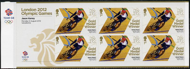 Great Britain 2012 London Olympic Games Team Great Britain Gold Medal Winner #18 - Jason Kenny (Track Cycling) self adhesive sheetlet containing 6 x first class values unmounted mint