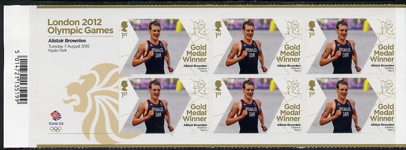 Great Britain 2012 London Olympic Games Team Great Britain Gold Medal Winner #19 - Alistair Brownlee (Triathlon) self adhesive sheetlet containing 6 x first class values unmounted mint