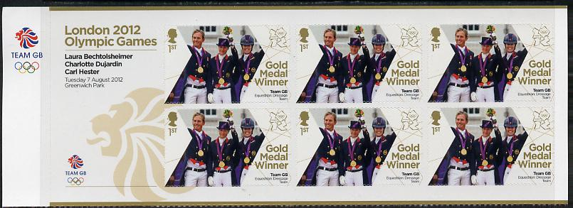 Great Britain 2012 London Olympic Games Team Great Britain Gold Medal Winner #20 - Laura Bechtolsheimer, Charlotte Dujardin & Carl Hester (Equestrian) self adhesive sheetlet containing 6 x first class values unmounted mint, stamps on olympics, stamps on self adhesive, stamps on london, stamps on horses, stamps on jumping