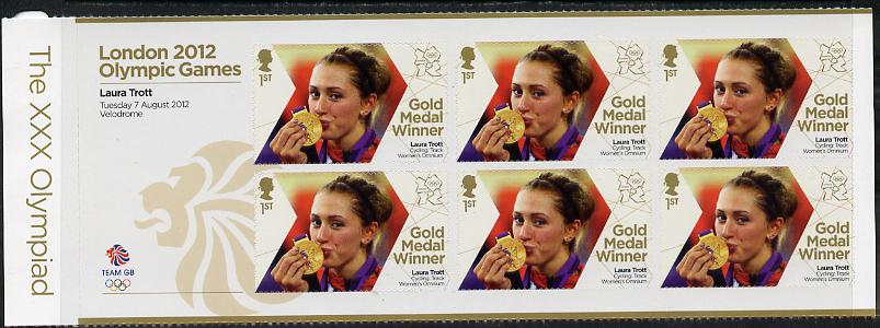 Great Britain 2012 London Olympic Games Team Great Britain Gold Medal Winner #21 - Laura Trott (Track Cycling) self adhesive sheetlet containing 6 x first class values unmounted mint