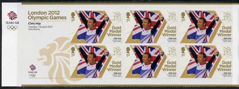 Great Britain 2012 London Olympic Games Team Great Britain Gold Medal Winner #22 - Chris Hoy (Track Cycling) self adhesive sheetlet containing 6 x first class values unmounted mint