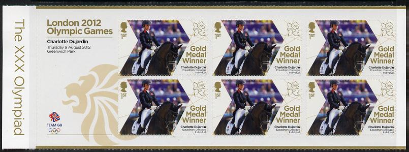 Great Britain 2012 London Olympic Games Team Great Britain Gold Medal Winner #23 - Charlotte Dujardin (Equestrian) self adhesive sheetlet containing 6 x first class values unmounted mint