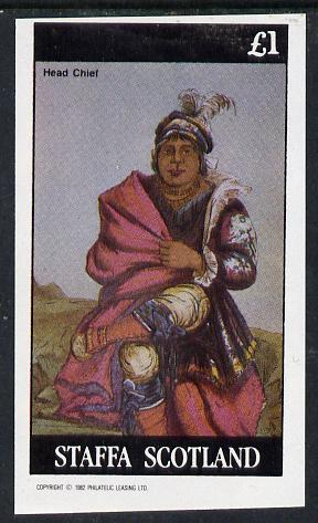 Staffa 1982 N American Indians #02 imperf souvenir sheet unmounted mint (�1 value)