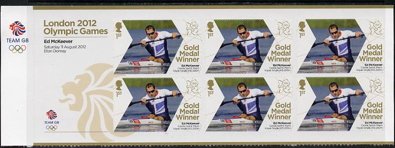 Great Britain 2012 London Olympic Games Team Great Britain Gold Medal Winner #26 - Ed McKeevert (Men's Canoe Sprint) self adhesive sheetlet containing 6 x first class values unmounted mint
