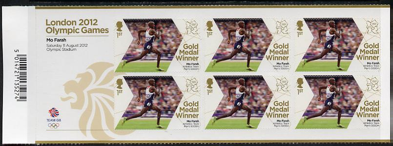 Great Britain 2012 London Olympic Games Team Great Britain Gold Medal Winner #27 - Mo Farah (5,000m) self adhesive sheetlet containing 6 x first class values unmounted mint