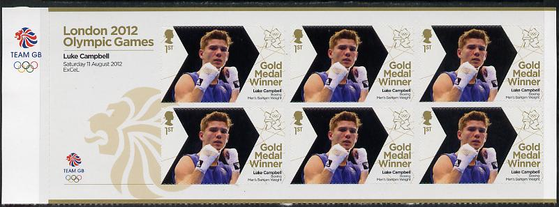 Great Britain 2012 London Olympic Games Team Great Britain Gold Medal Winner #28 - Luke Campbell (Boxing) self adhesive sheetlet containing 6 x first class values unmounted mint