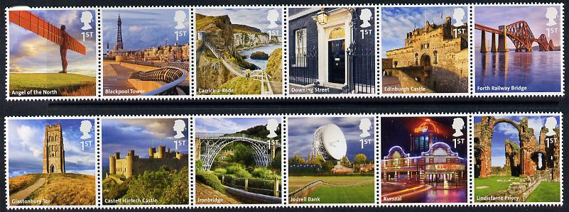 Great Britain 2011 UK A-Z 1st series perf set of 12 (2 se-tenant strips of 6) unmounted mint SG 3230-41