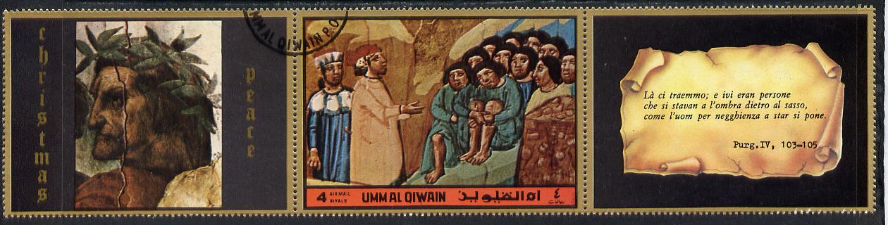 Umm Al Qiwain 1972 The Divine Comedy by Dante 4R showing group hiding behind rock in fine cto used strip of three (1 stamp plus 2 labels)