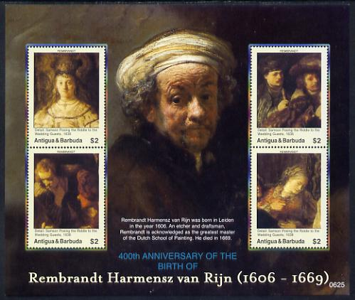 Antigua 2006 400th Birth Anniv of Rembrandt perf sheetlet of 4 (Samson Posing the Riddle of the Wedding Guests) unmounted mint, SG 4032a