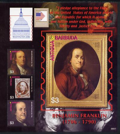 Antigua 2006 Washington International Stamp Exhibition perf sheetlet (Benjamin Franklin) unmounted mint, SG MS3975a, stamps on stamp exhibitions, stamps on americana, stamps on us presidents, stamps on usa presidents, stamps on stamp on stamp, stamps on stampon