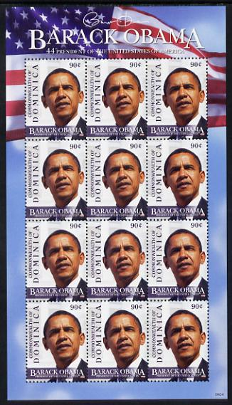 Dominica 2009 Inauguration of Pres Barack Obama perf sheetlet of 12 x 90c unmounted mint, SG 3633