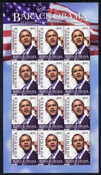 Dominica 2009 Inauguration of Pres Barack Obama perf sheetlet of 12 x 65c unmounted mint, SG 3632
