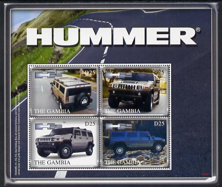 Gambia 2007 General Motors Hummer H2 perf sheetlet of 4 unmounted mint, SG 5146a, stamps on cars, stamps on trucks