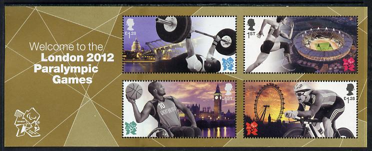 Great Britain 2012 London Paralympic Games perf m/sheet unmounted mint