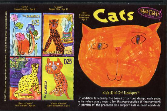 Gambia 2006 Kids Do It - Children's Paintings - Cats perf sheetlet containing set of 4 unmounted mint SG 4908-11