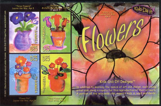 Gambia 2006 Kids Do It - Children's Paintings - Flowers perf sheetlet containing set of 4 unmounted mint SG 4912-15