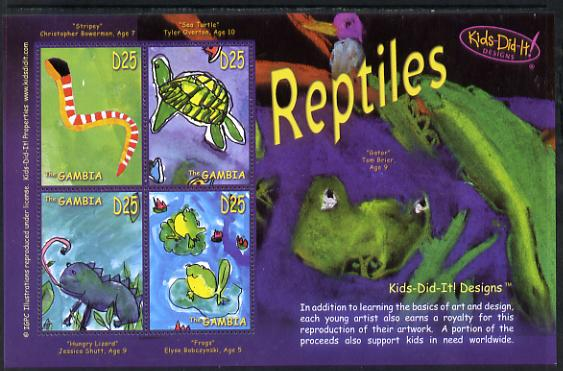 Gambia 2006 Kids Do It - Children's Paintings - Reptiles perf sheetlet containing set of 4 unmounted mint SG 4916-19