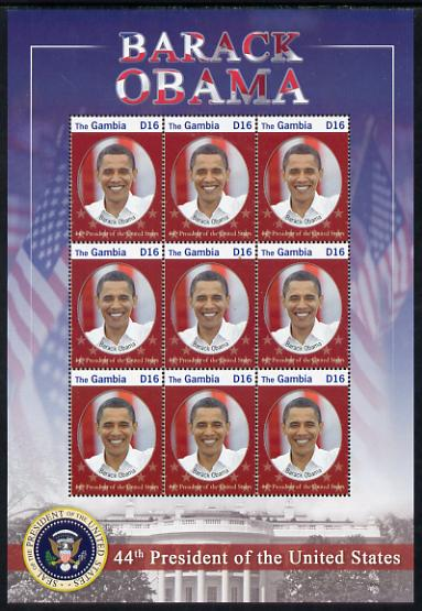 Gambia 2009 Inauguratuin of President Barack Obama perf sheetlet containing 12 values unmounted mint SG 5242