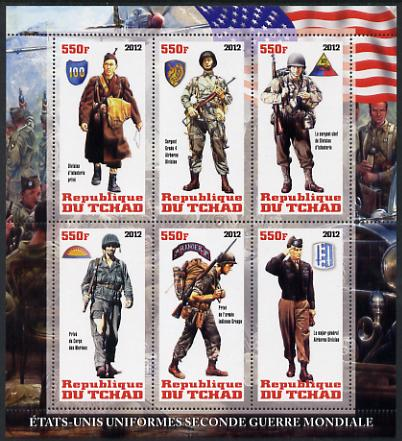 Chad 2012 Uniforms of the Second World War - USA perf sheetlet containing 6 values unmounted mint