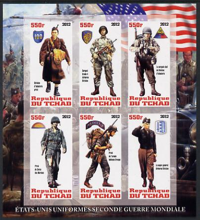 Chad 2012 Uniforms of the Second World War - USA imperf sheetlet containing 6 values unmounted mint